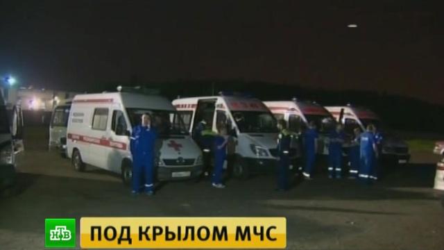 Борт МЧС доставил в Москву 11 тяжелобольных детей из Донбасса
