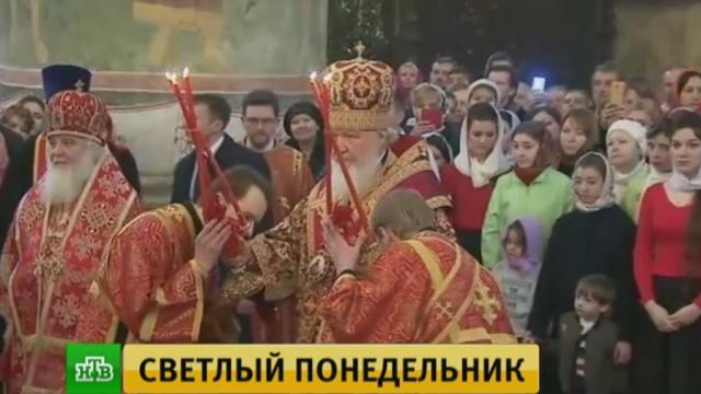 патриарх кирилл светлый понедельник провел богослужение успенском соборе