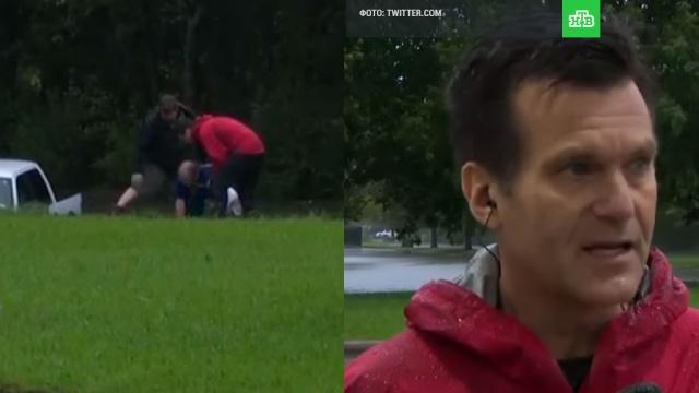 В США журналист во время репортажа спас мужчину из тонущей машины