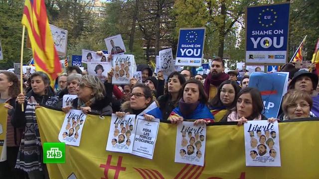 брюсселе прошла демонстрация поддержку задержанных политиков каталонии