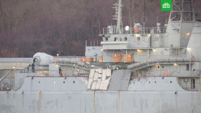 Российский десантный корабль Ямал столкнулся с сухогрузом в Эгейском море