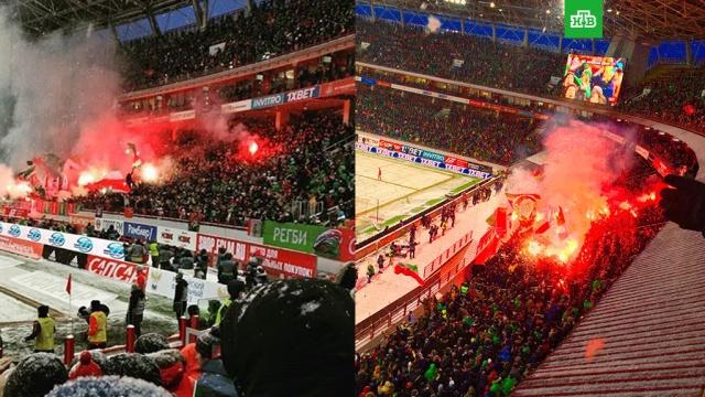 Болельщик устроил возгорание на матче Спартак  Локомотив в Москве