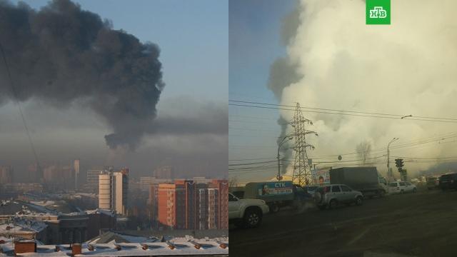 Дым от горящего склада с шинами окутал улицы Новосибирска