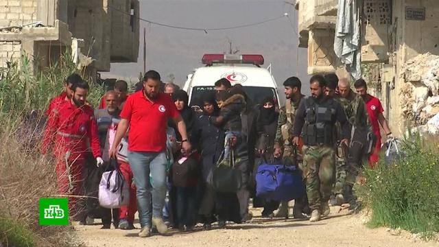 Около 100 человек покинули Восточную Гуту по гуманитарному коридору