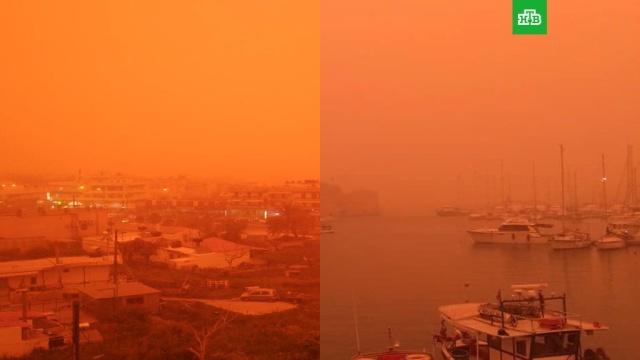 Пыльная буря накрыла греческий остров Крит: видео