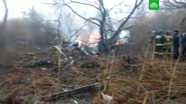 Появились первые кадры с места крушения вертолета в Хабаровске