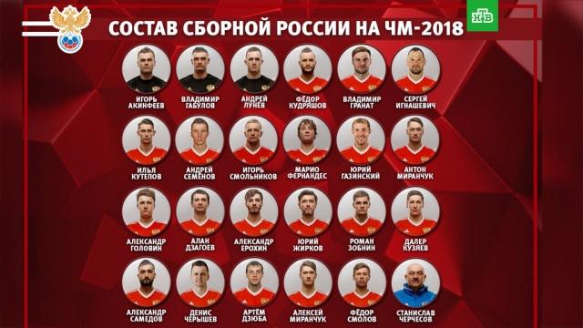 Определен окончательный состав сборной России на ЧМ-2018