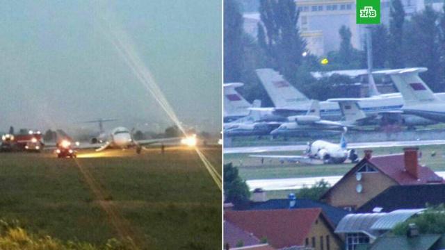 В киевском аэропорту самолет выкатился за пределы взлетно-посадочной полосы