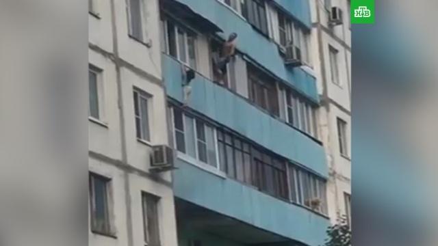 Мужчина спас повисшую на 7-м этаже девочку: видео