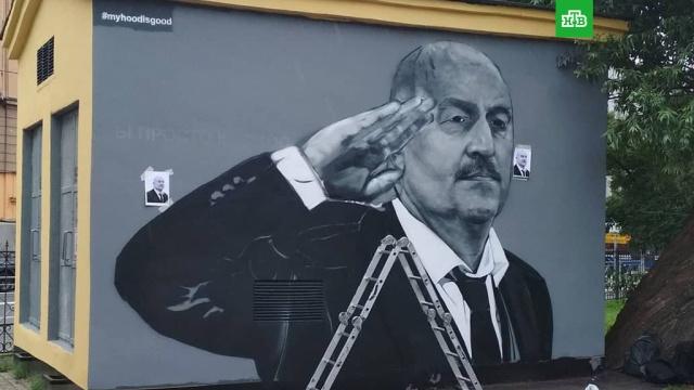 В Петербурге заново нарисовали граффити с Черчесовым